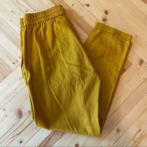 NWOT J. Crew Linen Cotton Ankle Joggers Mustard